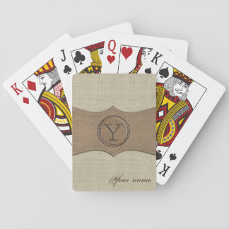 Rustic Country Monogram Letter Y Playing Cards