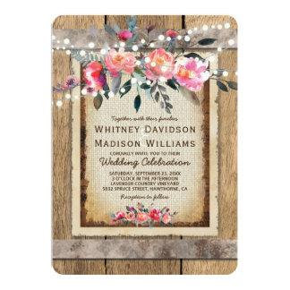 Rustic Country Oak Barrel Burlap and Wood Wedding Card