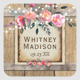 Rustic Country Oak Barrel Burlap and Wood Wedding Square Sticker