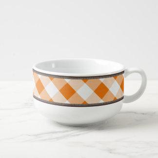 Rustic Country Orange White Gingham 24oz Soup Mug