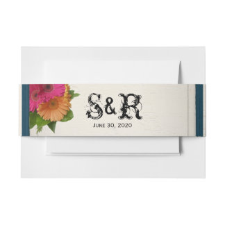 Rustic Country Painted Daisies Wedding Belly Band Invitation Belly Band