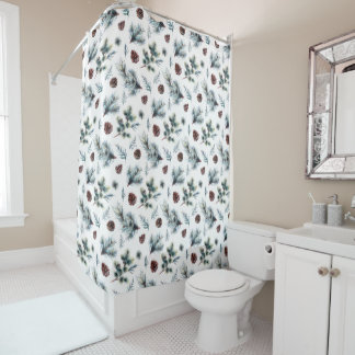 Rustic Country Pine Cones and Pine Branches | Shower Curtain