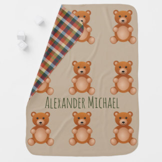Rustic Country Plaid Bear with Name Baby Blanket