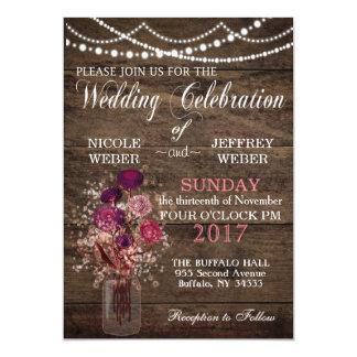 Rustic Country Purple Mason Jar Country Wedding Card