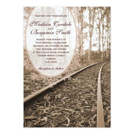 Rustic Country Railroad Tracks Wedding Invitations