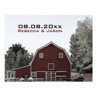 rustic country red barn wedding save the date post cards