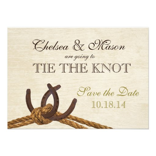 Rustic Country Rope and Horse Shoes Save the Date Invitations