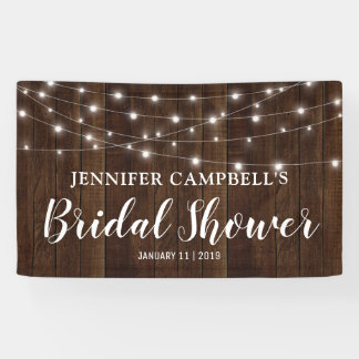 Rustic Country String Lights Wood Bridal Shower Banner