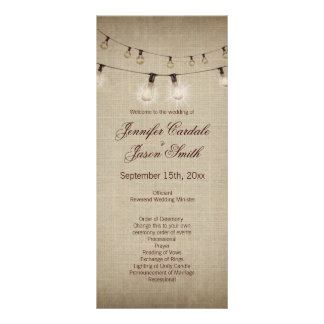 Rustic Country String of Lights Wedding Programs Rack Card Template