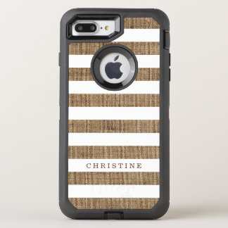 Rustic Country Striped Burlap Look Monogram Name OtterBox Defender iPhone 8 Plus/7 Plus Case