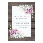 Rustic Country Succulent Floral Wedding RSVP Card