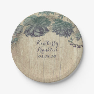 Rustic Country Succulents Wreath Wedding 7 Inch Paper Plate