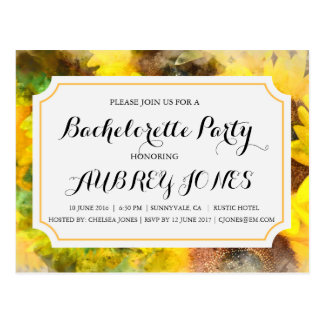 Rustic Country Sunflower Bachelorette Party Postcard