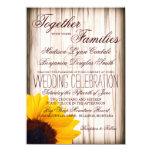Rustic Country Sunflower Barn Wood Wedding Invites