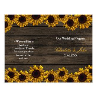 Rustic Country Sunflower Barn Wood Wedding program 21.5 Cm X 28 Cm Flyer