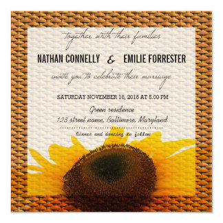 Rustic Country Sunflower | Basket Pattern Wedding Card