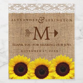 Rustic Country Sunflower Burlap Monogram Wedding Wine Label