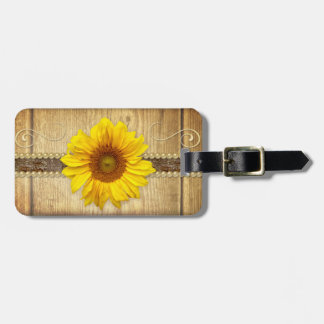 Rustic Country Sunflower Luggage Tag