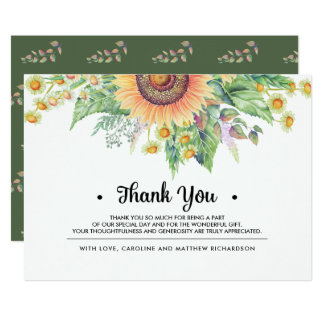 Rustic | Country Sunflower Thank You Wedding Cards