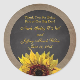 Rustic Country Sunflower Wedding Classic Round Sticker