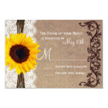 Rustic Country Sunflower Wedding RSVP Reply Cards Custom Invite