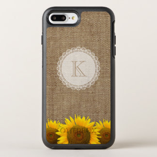 Rustic Country Sunflowers Burlap Lace Monogram OtterBox Symmetry iPhone 7 Plus Case