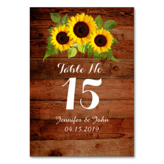 Rustic Country Sunflowers Fern Wedding Table Card