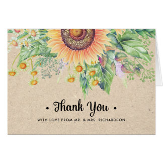 Rustic | Country Sunflowers Thank You Wedding Card