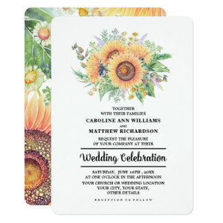 Rustic Country Sunflowers Wedding Invitations
