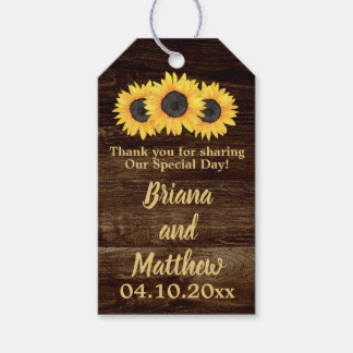 Rustic Country Sunflowers Wood Favours Gift Tag