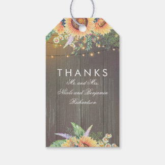 Rustic Country Sunflowers Wood String Lights Gift Tags