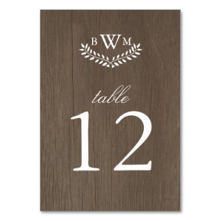 Rustic Country Table Number Table Card
