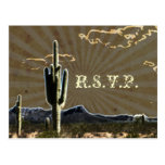 Rustic country Texas cactus western wedding RSVP Post Cards