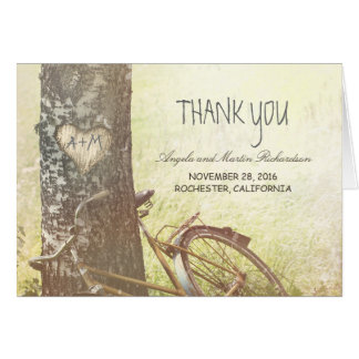 rustic country thank you cards with tree