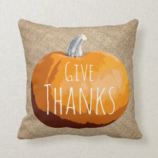 Rustic Country Thanksgiving Pumpkin Cushion