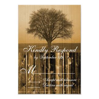 Rustic Country Tree Barn Wood Wedding RSVP Cards 9 Cm X 13 Cm Invitation Card