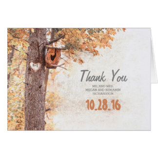 Rustic Country Tree Heart Fall Wedding Thank You Card