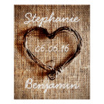 Rustic Country Twine Heart Burlap Wedding Poster