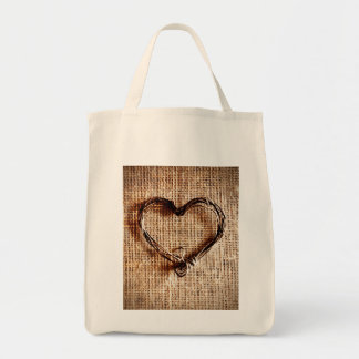 Rustic Country Twine Heart on Burlap Print Bag