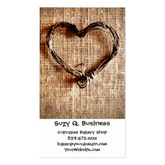 Rustic Country Twine Heart on Burlap Print Double-Sided Standard Business Cards (Pack Of 100)