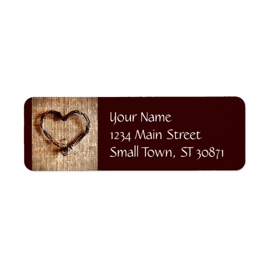 Rustic Country Twine Heart on Burlap Print Return Address Label