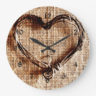 Rustic Country Twine Heart on Burlap Print Wall Clocks
