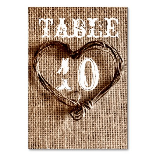 Rustic Country Twine Heart Wedding Table Numbers Table Card
