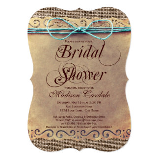 Rustic Country Vintage Bridal Shower Invitations