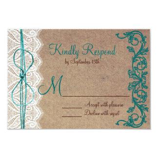 Rustic Country Vintage Brown Teal Wedding RSVP 9 Cm X 13 Cm Invitation Card