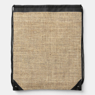 Rustic Country Vintage Burlap Drawstring Bag
