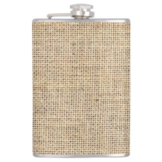 Rustic Country Vintage Burlap Hip Flask