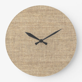 Rustic Country Vintage Burlap Large Clock