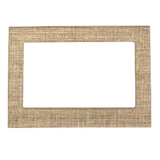 Rustic Country Vintage Burlap Magnetic Picture Frame