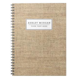 Rustic Country Vintage Burlap Notebooks